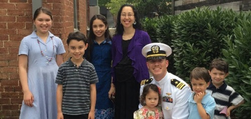 Lt. Cmdr. Timothy White and family