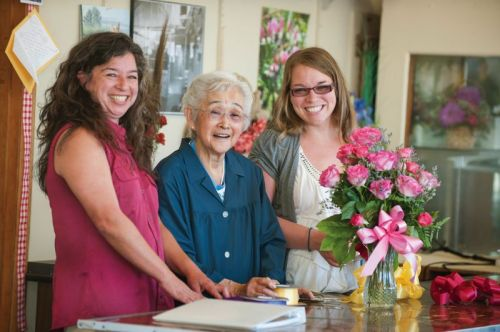 Photo Credit: TRIBUNE PHOTO: JOHN M. VINCENT - Three generations of the Itami family currently work in the family owned Kern Park Flower Shoppe serving the local community for 99 years. Holly Itami Springfels (l); her grandmother, 92-year old Fumi Itami; and her daughter Kimberly Walker. Walker is in charge of many of the day to day operations.